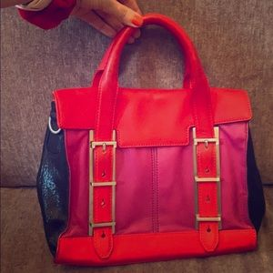 Botkier pink & red top handle leather purse